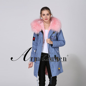 New Denim Blue Parka Huge Real Raccoon Fur Hood Women Jacket Parka ...