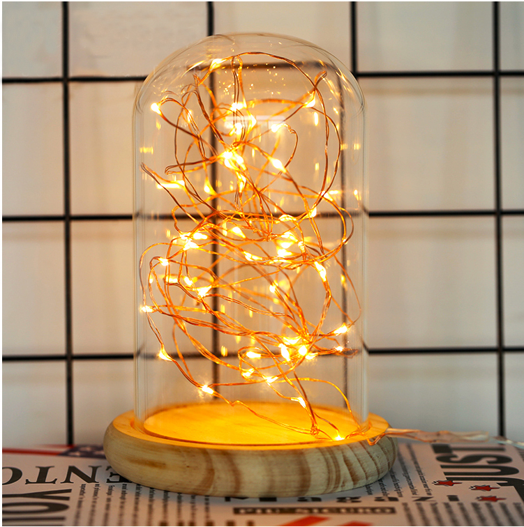 Wholesale Christmas Gift Acrylic Clear Led Glass Dome with Base