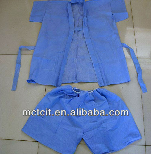Disposable PP non-woven blue color medical short-sleeved shirt and shorts