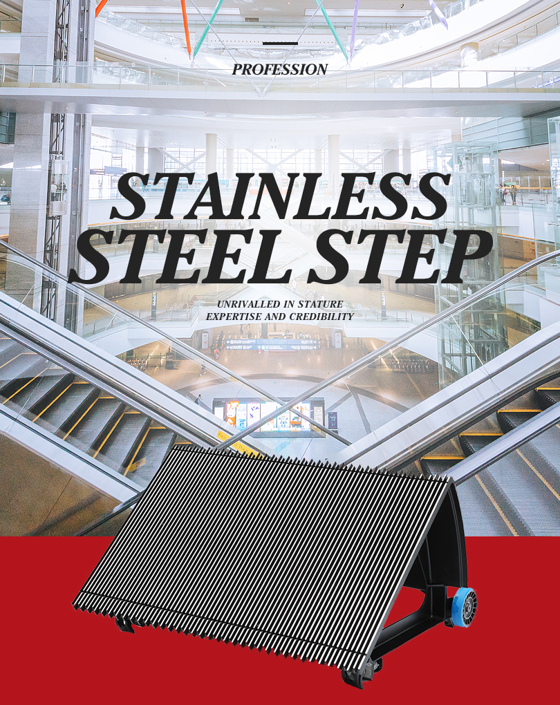 1000mm Black Escalator Stainless Steel Step With Blue Roller