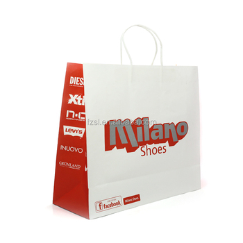 Recyclable custom design made white kraft paper bag for shopping