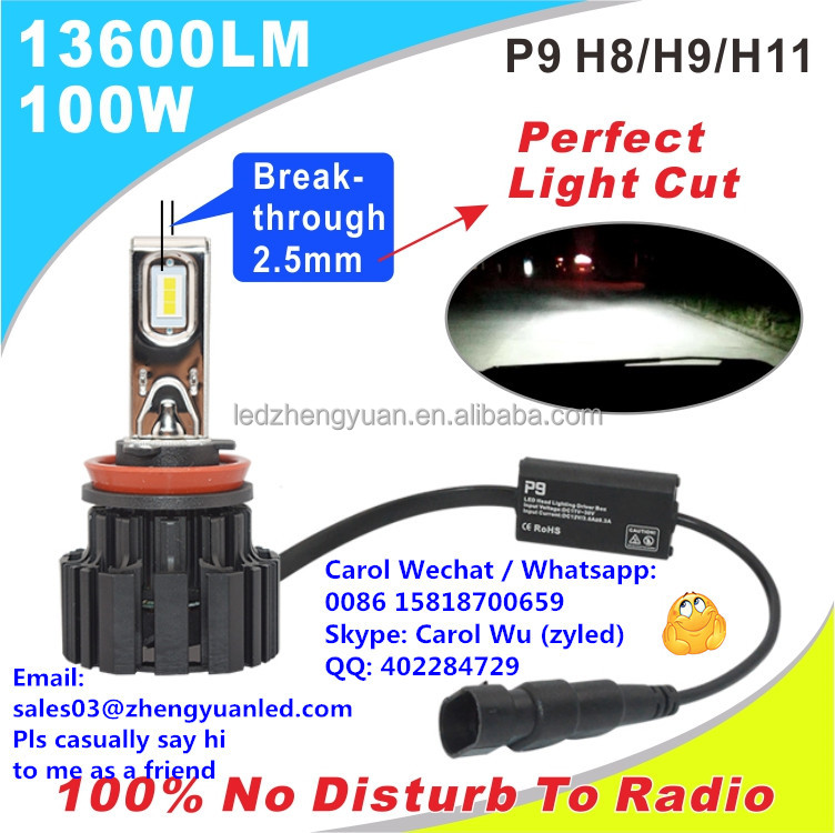 100% Most Bright 13600lm 100W P9 led h4 focos led h15 kit xenon 13000 lumen car headlight automobiles motorcycles h7 led 6000k