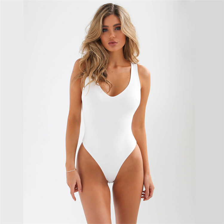 2018 fashion sexy slim body solid backless bodysuits women rompers