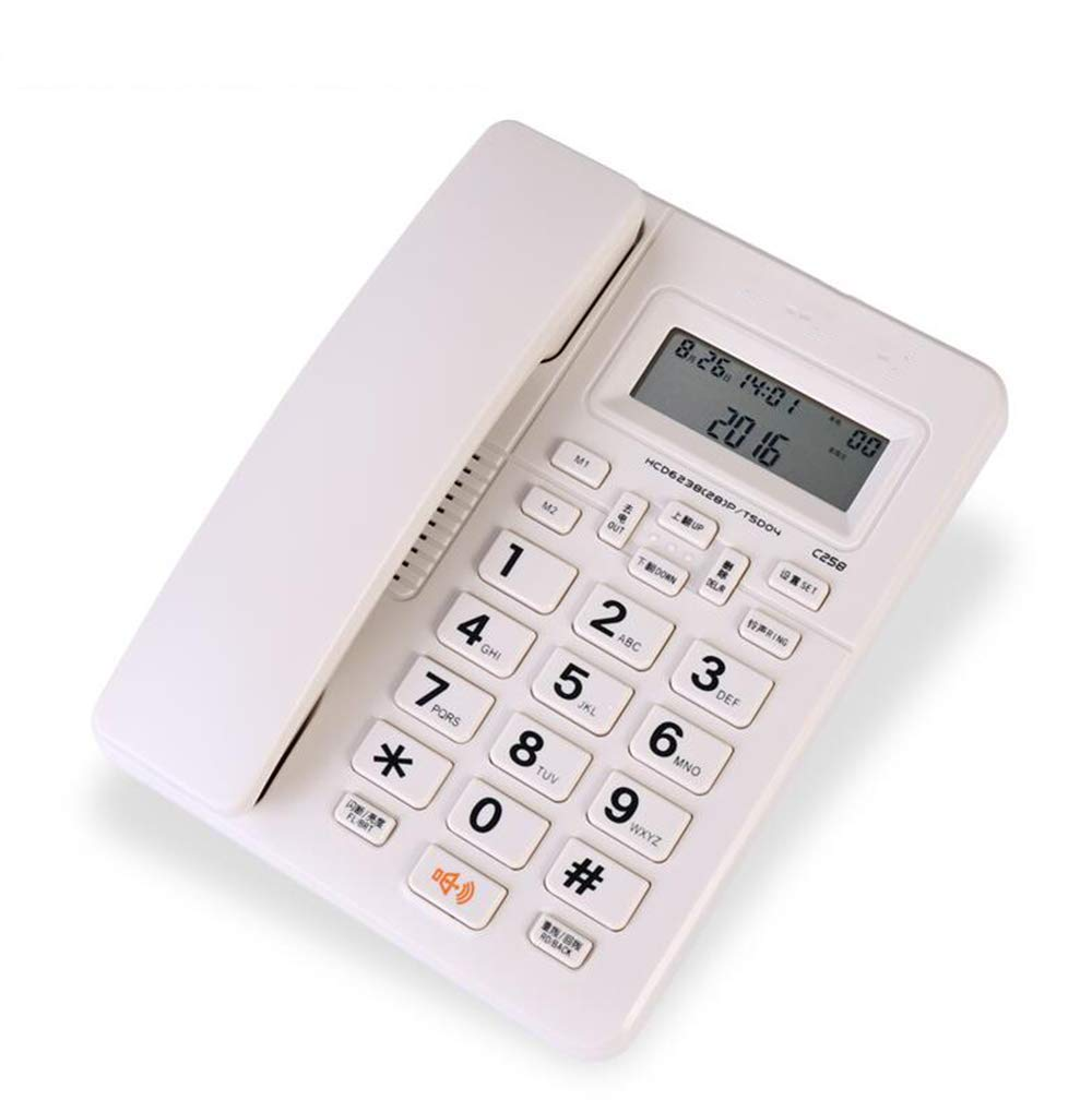 FU TEL Wired Telephone, Multi-Function Wall-Mounted/Desktop Home Office Caller ID Fixed Telephone (Color : White)
