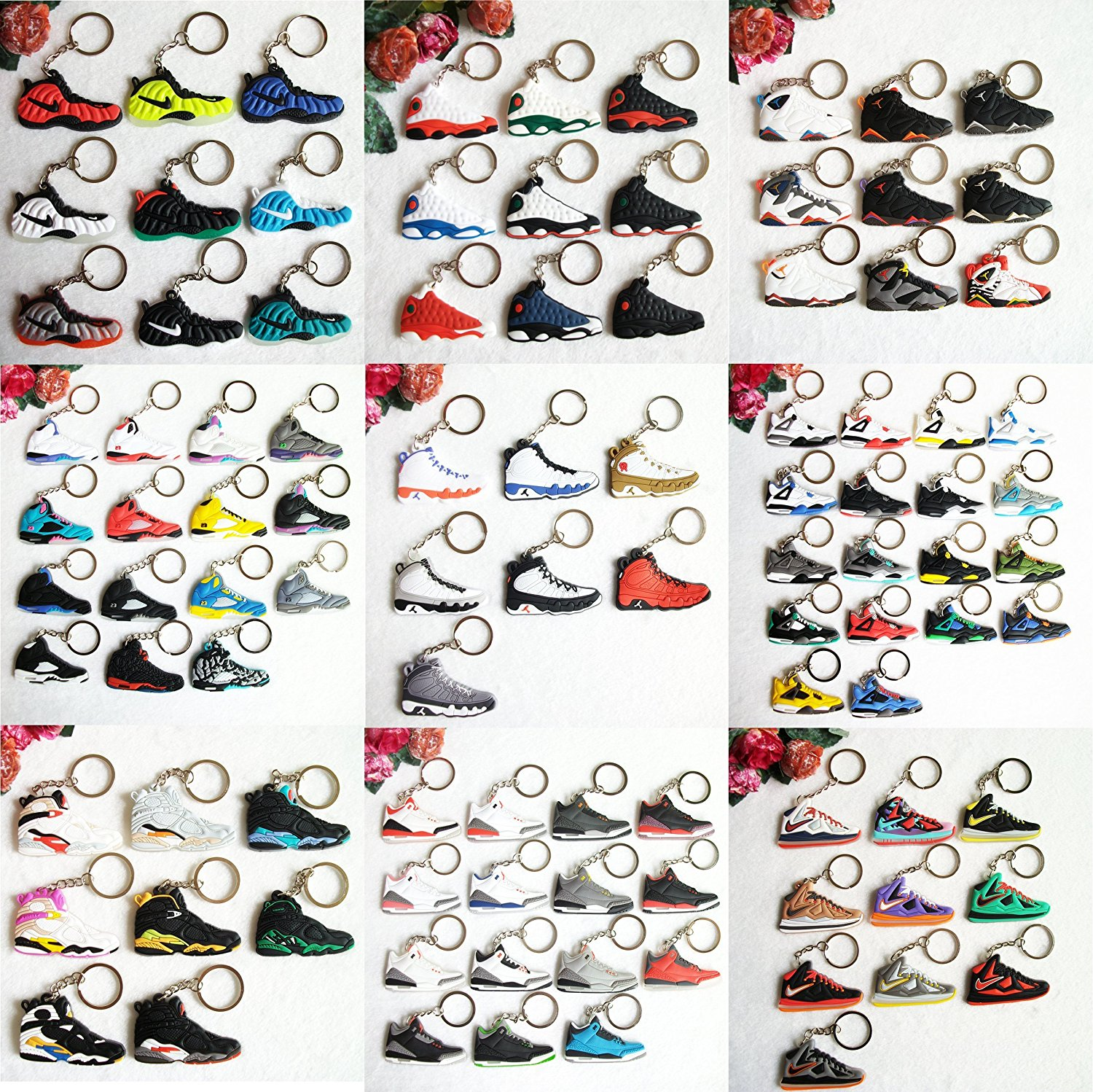 brand new 89fc1 d715d Get Quotations · Nike Air Jordan Foamposite Lebron Kobe New Balance Variety  Sneaker Keychains (Set of 23)