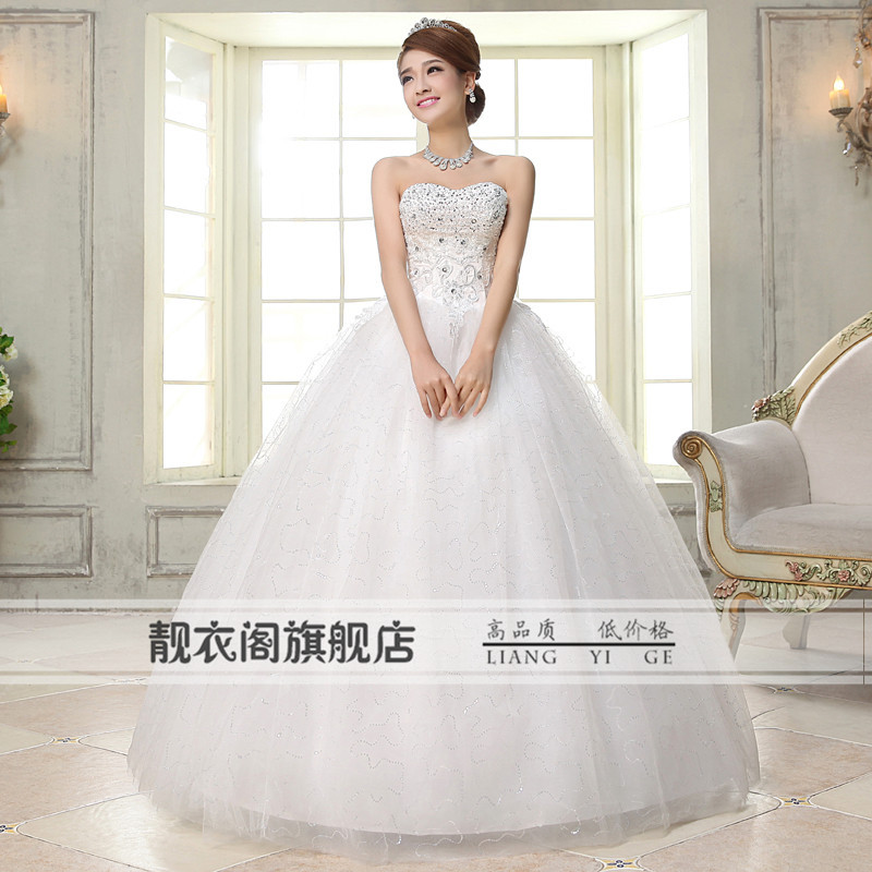 Cheap Wedding Dresses Ebay: 2015 Luxury Beaded Lace Up Wedding Dresses Bridal Gowns