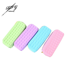 Cute Stationery Pencil Case/ Silicone Big Square Pencil Case  Pure Color Series For School Students Supplies Metal multifunction