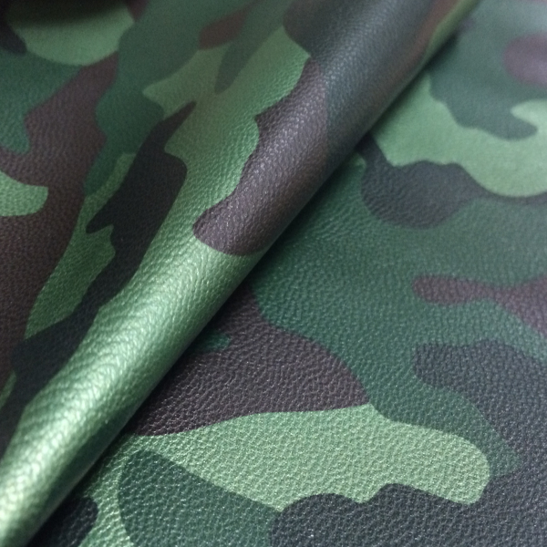 Good quality pu camouflage leather material for shoes