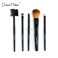 5pcs travel makeup brush set Brown pvc bag cosmetic brushes kit Cheap price make up brush tool