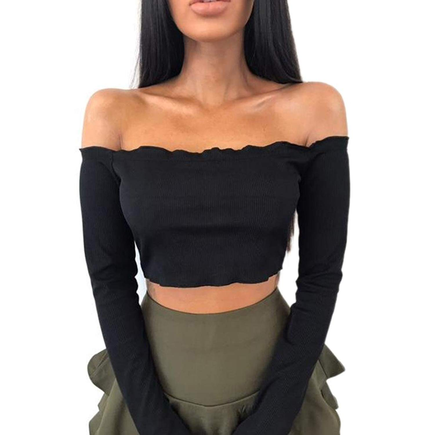 Get Quotations · TOPUNDER Womens Off Shoulder Blouses Crop Tops Frill Tops  Bralet Boobtube Jumper by 9439caf6b