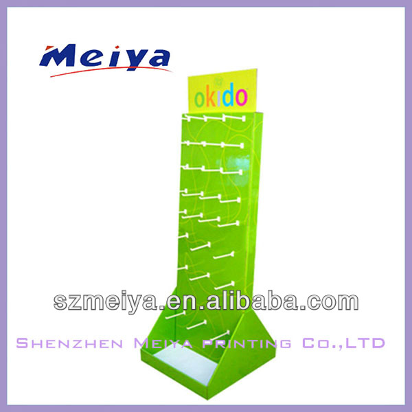 Surpermarket LCD cardboard shelf display for toys, carton standing display hook display shelves for hanging with pegs/hooks