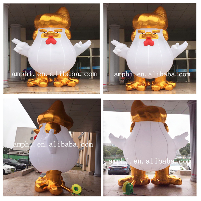 customized inflatable giant rooster/nylon inflatable advertising trump chicken model/ inflatable cartoon chicken