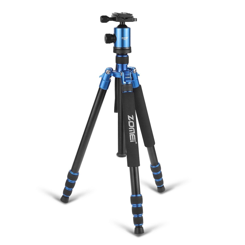 "ZoMei 65"" Professional Compact Magnesium Aluminium Sturdy Camera Tripod Monopod with Quick Release Plate Tripod Mount Ball Head for Canon Nikon Sony(Blue)"