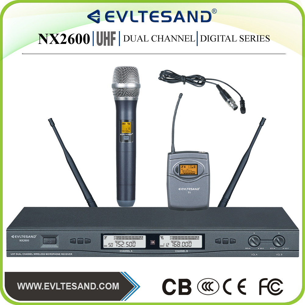 NX2600 wireless communication and karaoke microphone use uhf wireless microphone system