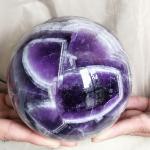Large Natural Dream Amethyst Sphere Ball Chevron Crystal For Healing Decoration Balls