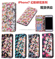 Flower leather case for ladies, leather phone case for iphone 7