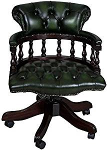 Astonishing Buy Captains Style Green Leather Swivel Office Desk Chair In Bralicious Painted Fabric Chair Ideas Braliciousco