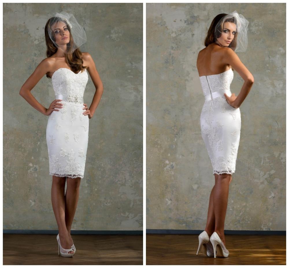 White Satin Sweetheart Vintage Short Wedding Dresses