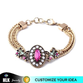 China Wholesale Double Chain Gold Bracelet Jewelry Design For