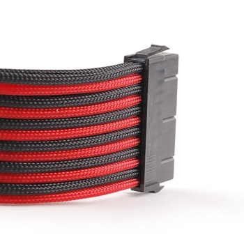 Good quality Red&Black sleeved 24 pin ATX power supply extension cable