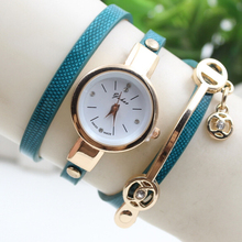 2016 New fashion women watches weave wrap rivet leather bracelet wrist watches