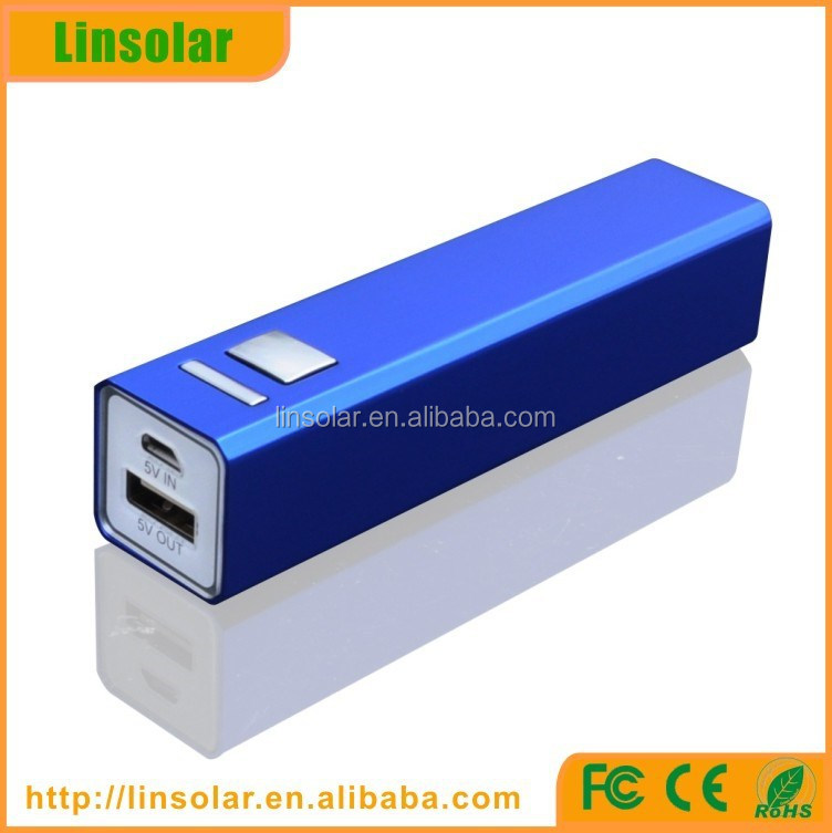 Stock Aluminium Lipstick power bank 2600mah/power bank 2600