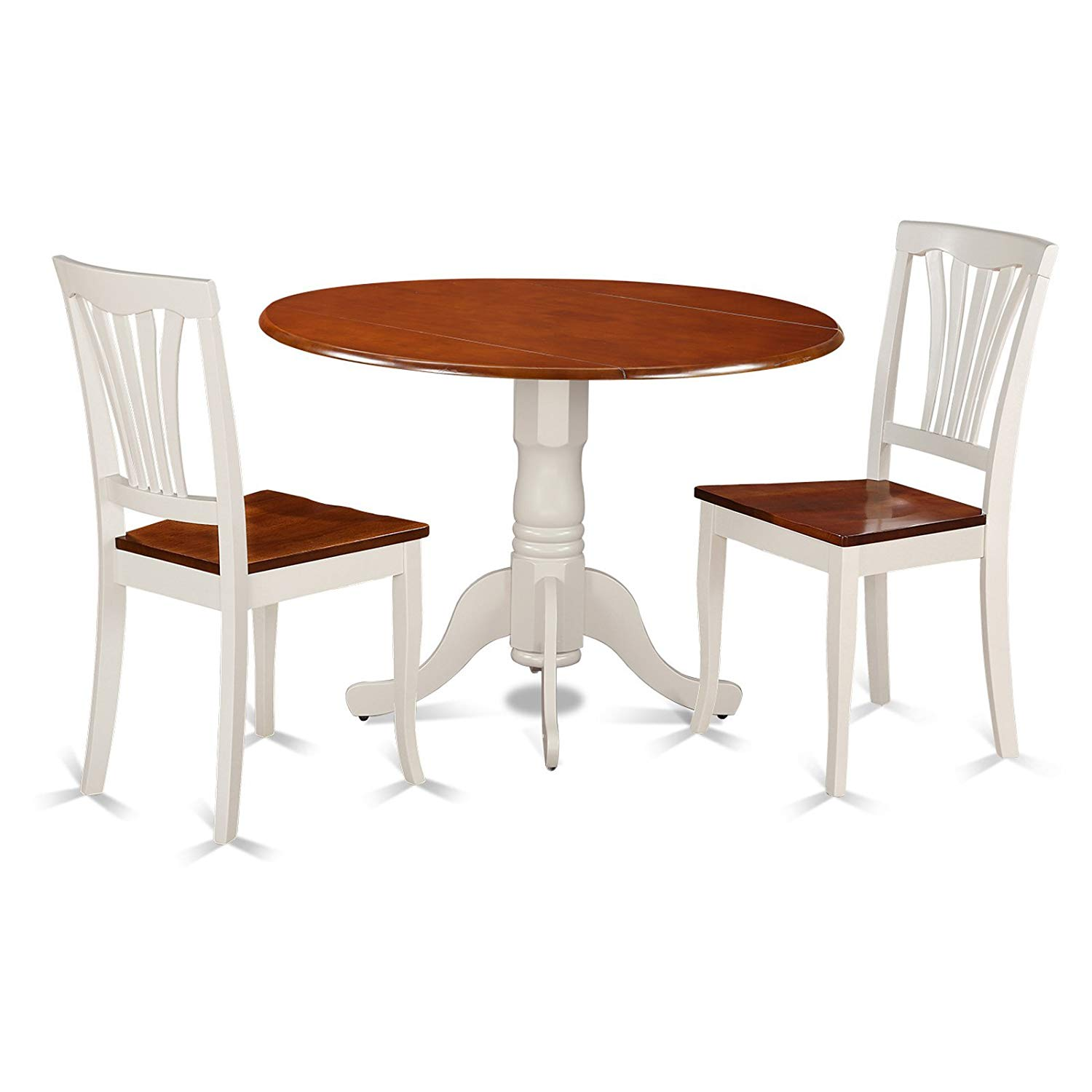 Piece Round Dining Table Set with Wooden Seat Chairs, Includes a Round Drop-Leaf Table with Classic Turned Pedestal Base, Two Fanned-Back Chairs, The Perfect Way to Finish your Small Dining Space