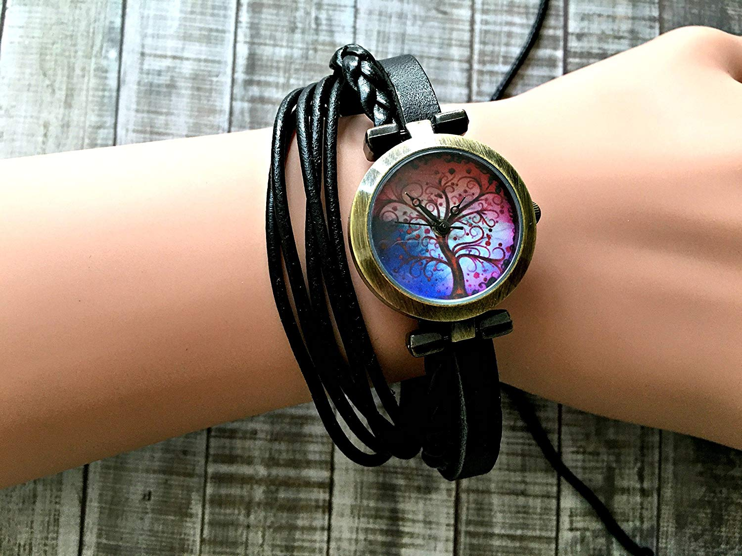 Tree Wrap Bracelet Leather Watch, Leather Wrap Bracelet Watch, Leather Wrap Art Watch, Vintage Retro Wrap Bracelet Watch, Wrap Genuine Leather Watch 007