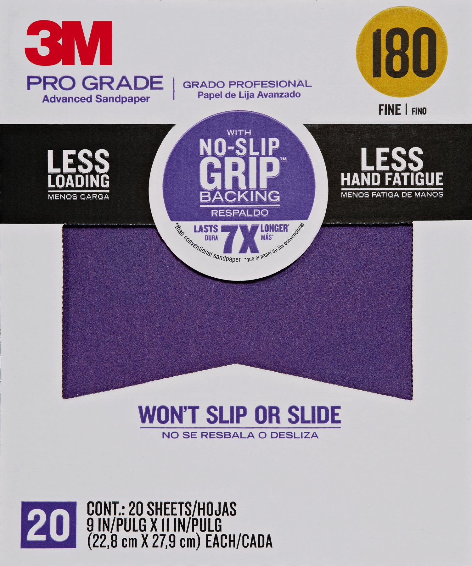 3M 26180CP-P-G 180 Grit Pro Grade No-Slip Grip Advanced Sandpaper (20 Pack), 9 x 11""