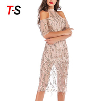 Vintage Great Gatsby Charleston Women Bling Bling Nightclub Sexy Dress Girl Hot Dance Sequin Mini Party Dresses