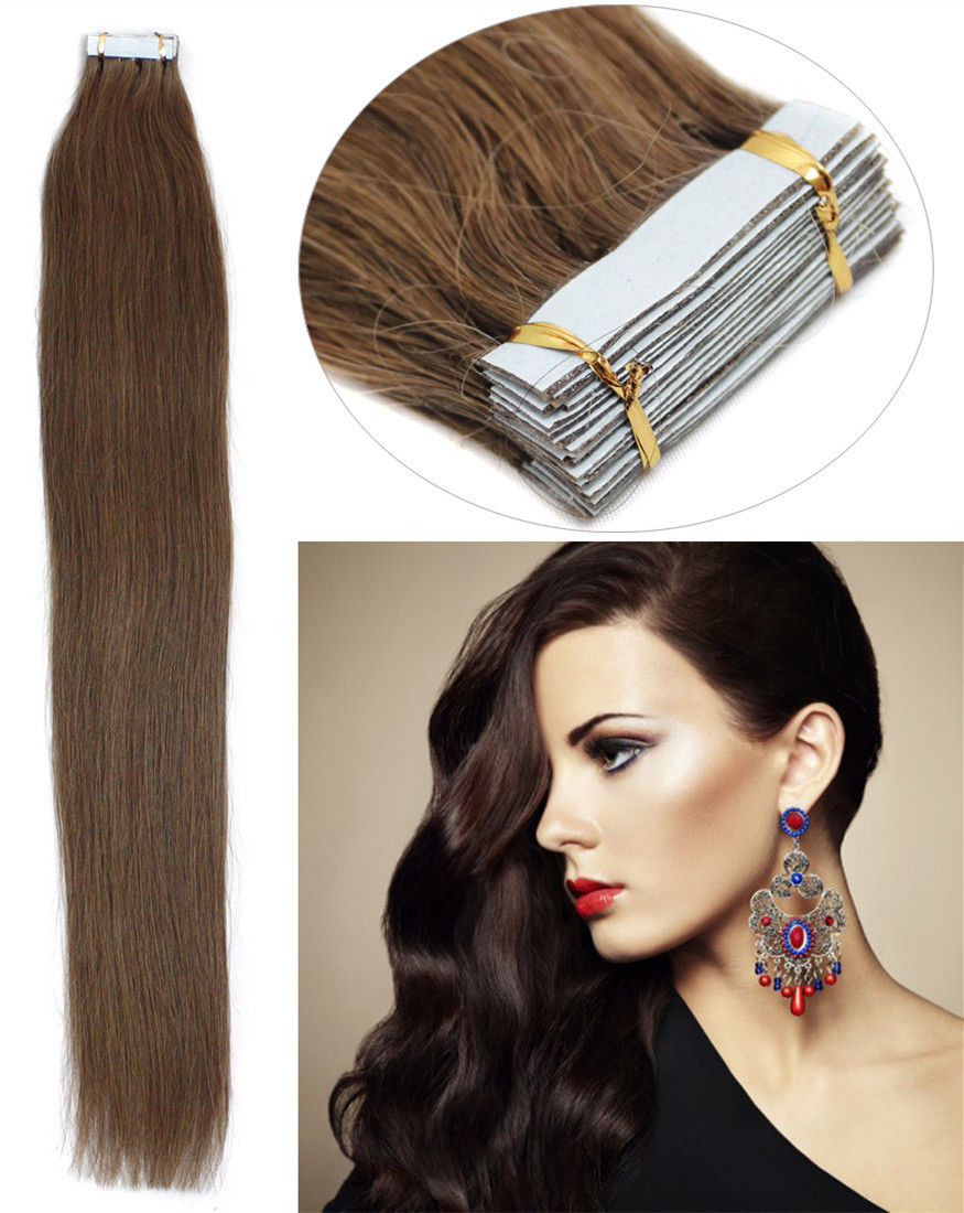 cheap Golden Blonde tape virgin human 20 inch 20pcs 50g Straight skin weft hair extensions-in ...
