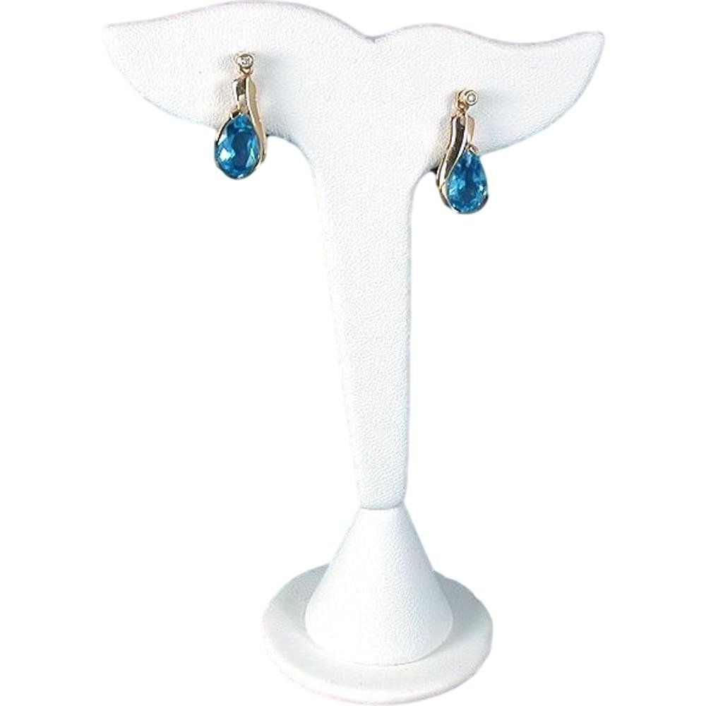 "White Leather Leaf Earring Display Stand Showcase 5"""