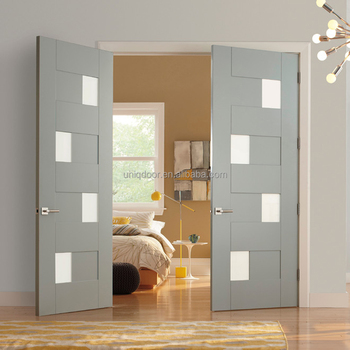 Modern Double Shaker Door With Small Pieces Glass For Bedroom ...