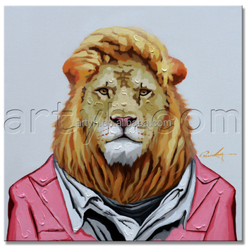 Pop Ing Handmade Animal Abstract Lion Oil Painting For Wall Decor