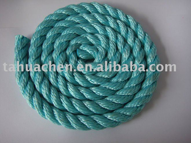 3-strand twist 12mm green PP rope--sealing rope
