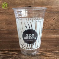 Promotional High Quality Logo Printed Disposable PP PET PS Plastic Cup with Dome Flat Lid For Iced Smoothie