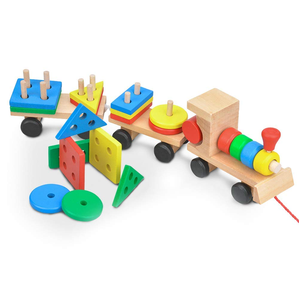 Wooden Educational Train Toy, Wooden Shape Color Sorting Puzzles Preschool Stacking Blocks Baby Toddler Train Puzzles Toys Holiday Birthday Gift (Train - 001)