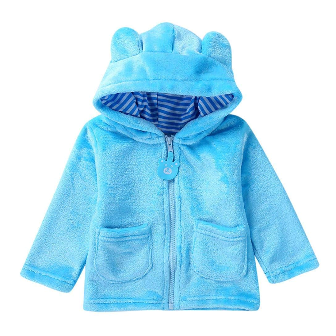 Newborn Winter Warm Hooded Coat,Jchen(TM) Newborn Baby Boys Girls Long Sleeves Keep Warm Hooded Coat Outerwear Coat for 0-24 Months (Age: 6-12 Months, Light Blue)