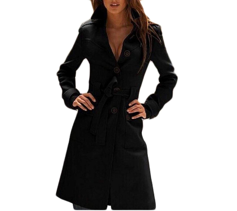 GodeyesWomen Godeyes Womens Solid With Belt Cut Out Single Breasted Woolen Coat Jacket