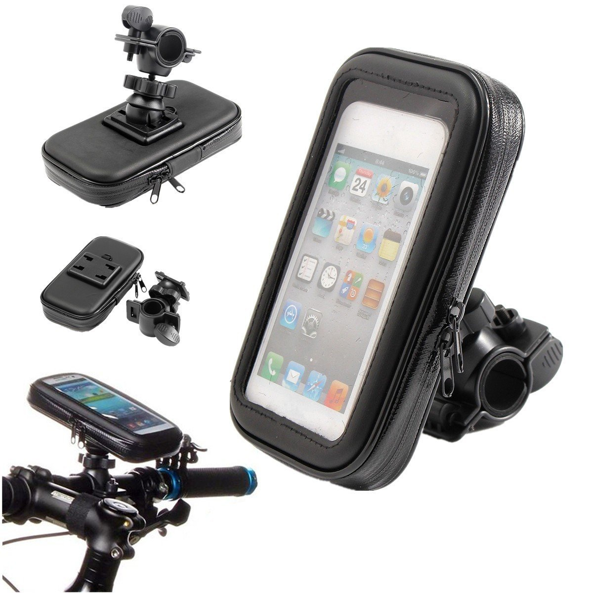 M.Way Motorcycle Bike Handlebar Holder Mount 360 Degree Rotation Waterproof Shockproof Dustproof Mount Bag Case Cover Stand Kit For Mobile Phone GPS XL