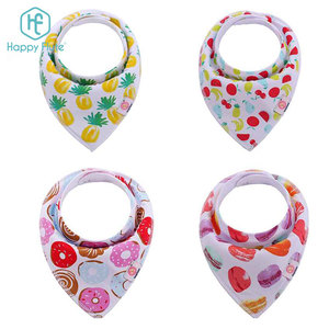 Amazon hot- selling custom color cotton 2 button snap baby bandana drool bibs 100% cotton print wipe bib