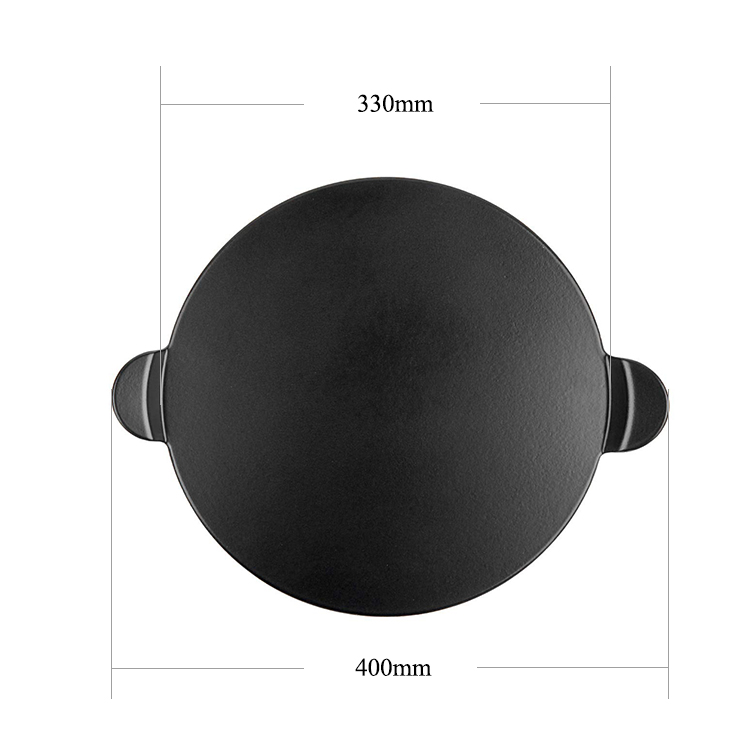 1.5mm thickness 13'' or 15''  cordierite backing coating pizza oven lava stone with handle for pizza cooking