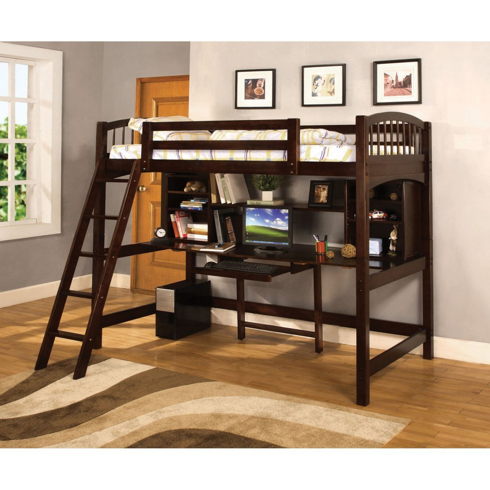 Furniture of America Bowery Bookcase Twin Loft Bed - Espresso