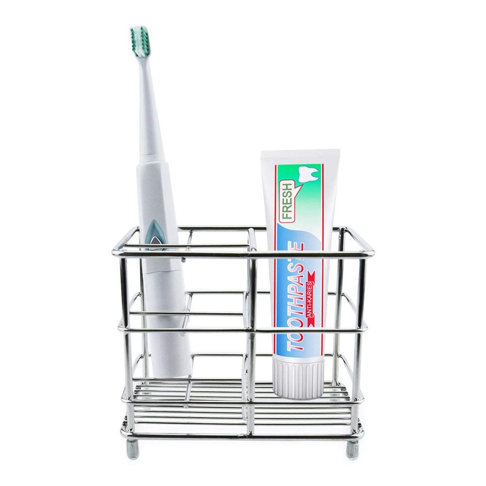 Toothbrush Holder, Stainless Steel Bathroom Storage Organizer Stand Rack with Multi-Functional 5 Slots for Electric Toothbrush, Toothpaste, Cleanser, Comb, Razor