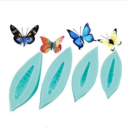 4 piece/lot Fondant Butterfly Moulds Silicone Molds Fondant Cake Decorating Tools, Baking Mat Bakeware Cake Border Decorating Mould, Sugarcraft Cupcake Pastry Tools Kitchen Baking Supplies