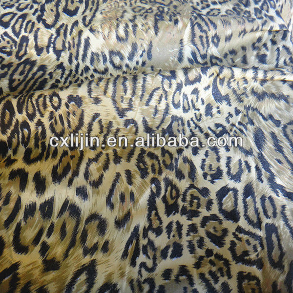 Woven polyester printed fabric leopard