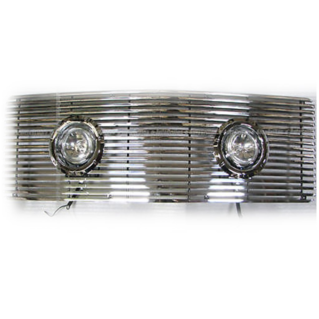 E-Autogrilles Aluminum Polished 8mm Billet Grille with Lamp & Ring for 88-93 GMC C/K 1500 Sierra / 92-93 Suburban (1PC)(33-1128)