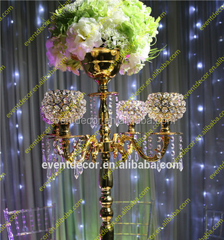 Crystal gold candelabra centerpieces with flower bowl crystal crystal gold candelabra centerpieces with flower bowl crystal candelabra for wedding decor junglespirit Images