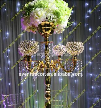 Crystal gold candelabra centerpieces with flower bowl crystal crystal gold candelabra centerpieces with flower bowl crystal candelabra for wedding decor junglespirit Choice Image