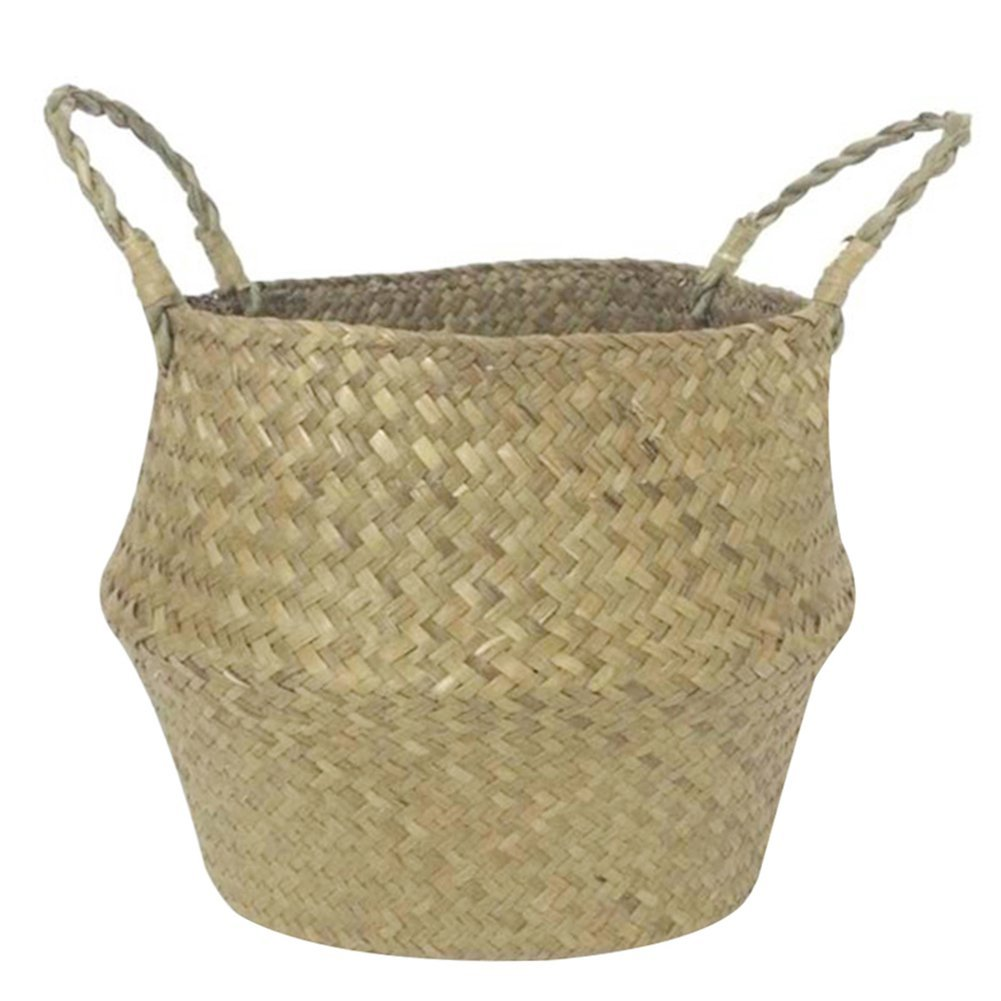 Storage Basket Seagrass, Molie Hand-Woven Foldable Storage Seagrass Belly Basket with Handle for Storage, Laundry, Picnic, Plant Pot Cover, and Beach Bag